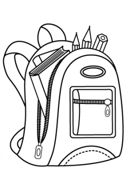 Backpack for school coloring page for kids, printable free