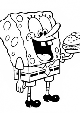 Sponge Bob eats coloring pages for kids printable free