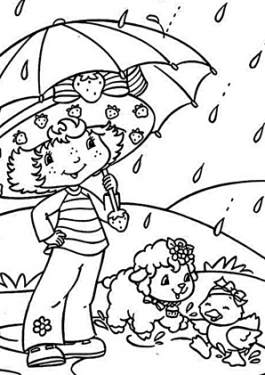 Strawberry shortcake coloring pages rain, printable free