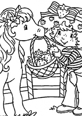 Strawberry shortcake coloring pages with horse, printable free