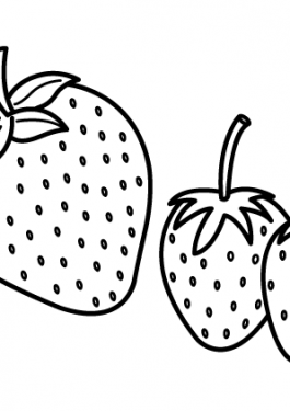 Three Strawberries Fruits coloring pages simple for kids, printable free