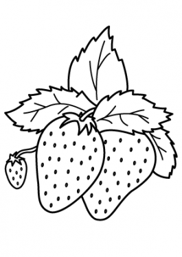 Nice Strawberries Fruits coloring pages simple for kids, printable free