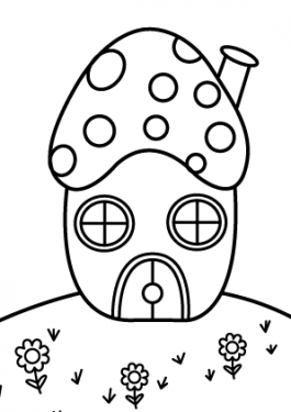 Mushrooms house coloring page for kids, printable free